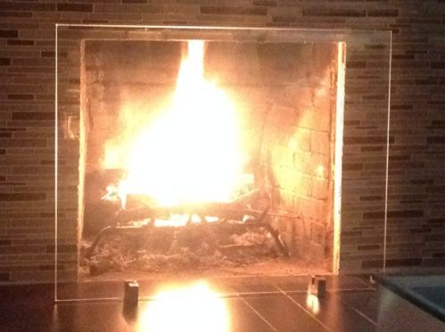 Modern Fireplace Screen Tempered Glass Stainless New Modern