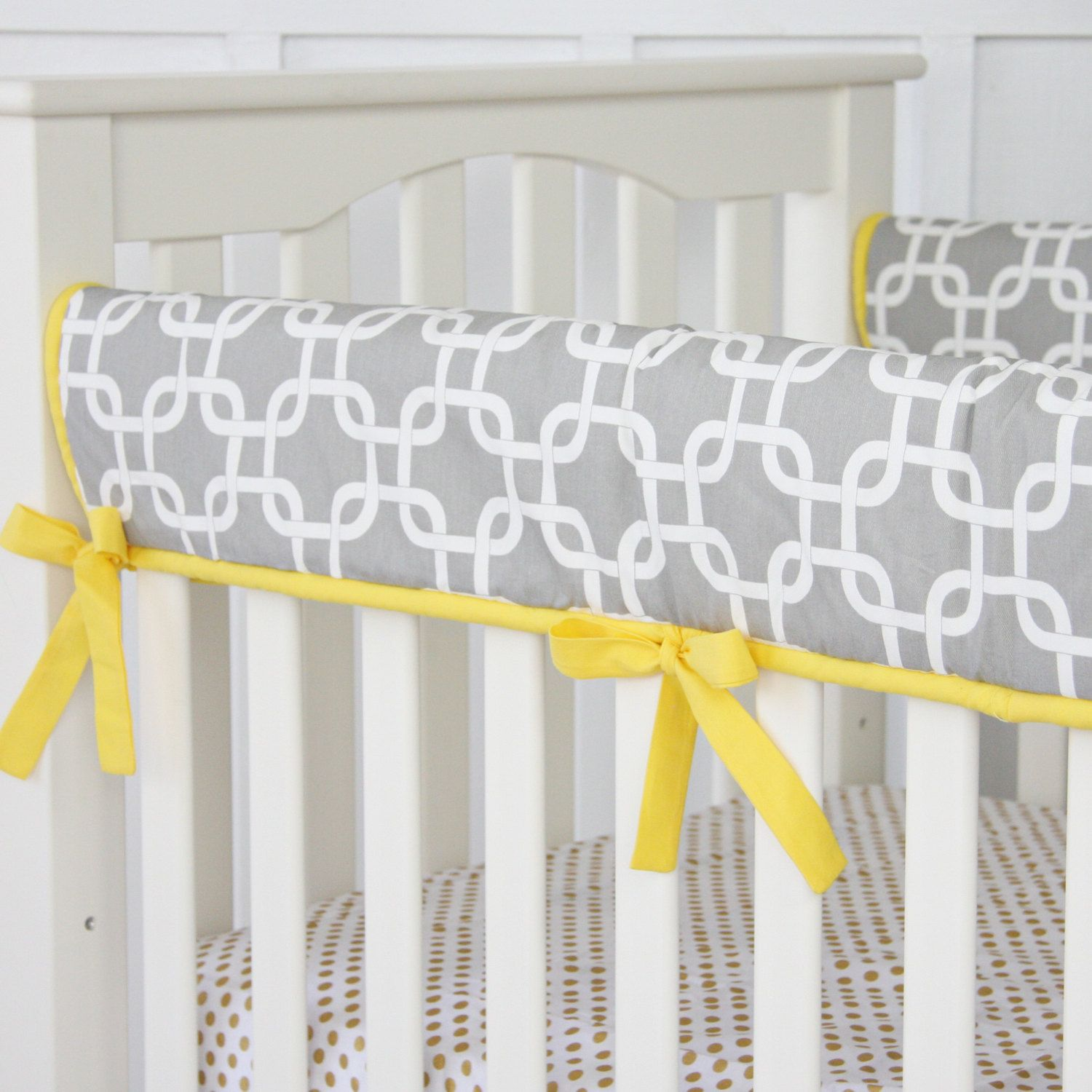 Crib rail for sale - Bright Baby Gray And Yellow Crib Rail By Cadenlanebabybedding 68 00