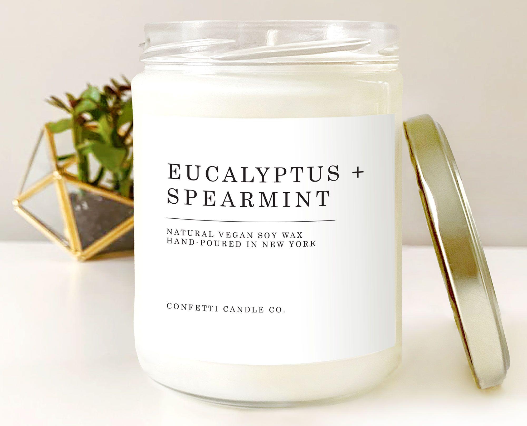 Eucalyptus Spearmint Vegan Candle Soy Natural Soy Wax Candle Etsy Natural Soy Wax Candles Soy Wax Candles Soy Candles