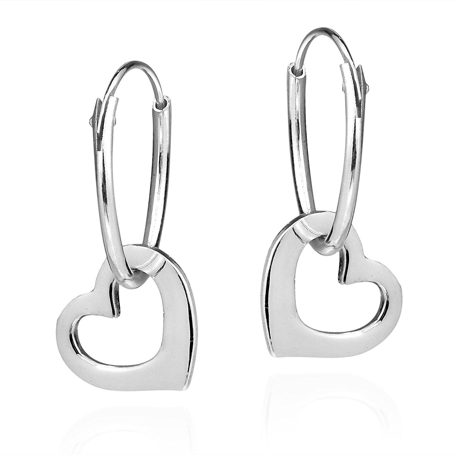 c5ac3d68e8 Open Top Heart Love Hoop Earrings Tubular 925 Sterling Silver Hinged  Notched Post These open heart silver hoop earrings are t…