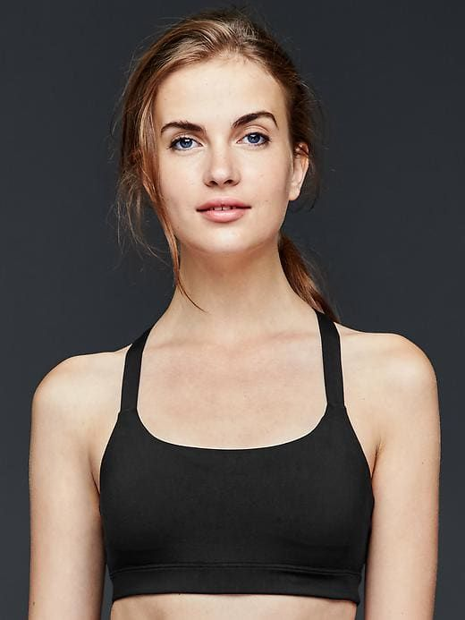 9e80582437c53 Gap Womens Low Impact Kissing-Back Sports Bra True Black Knit ...