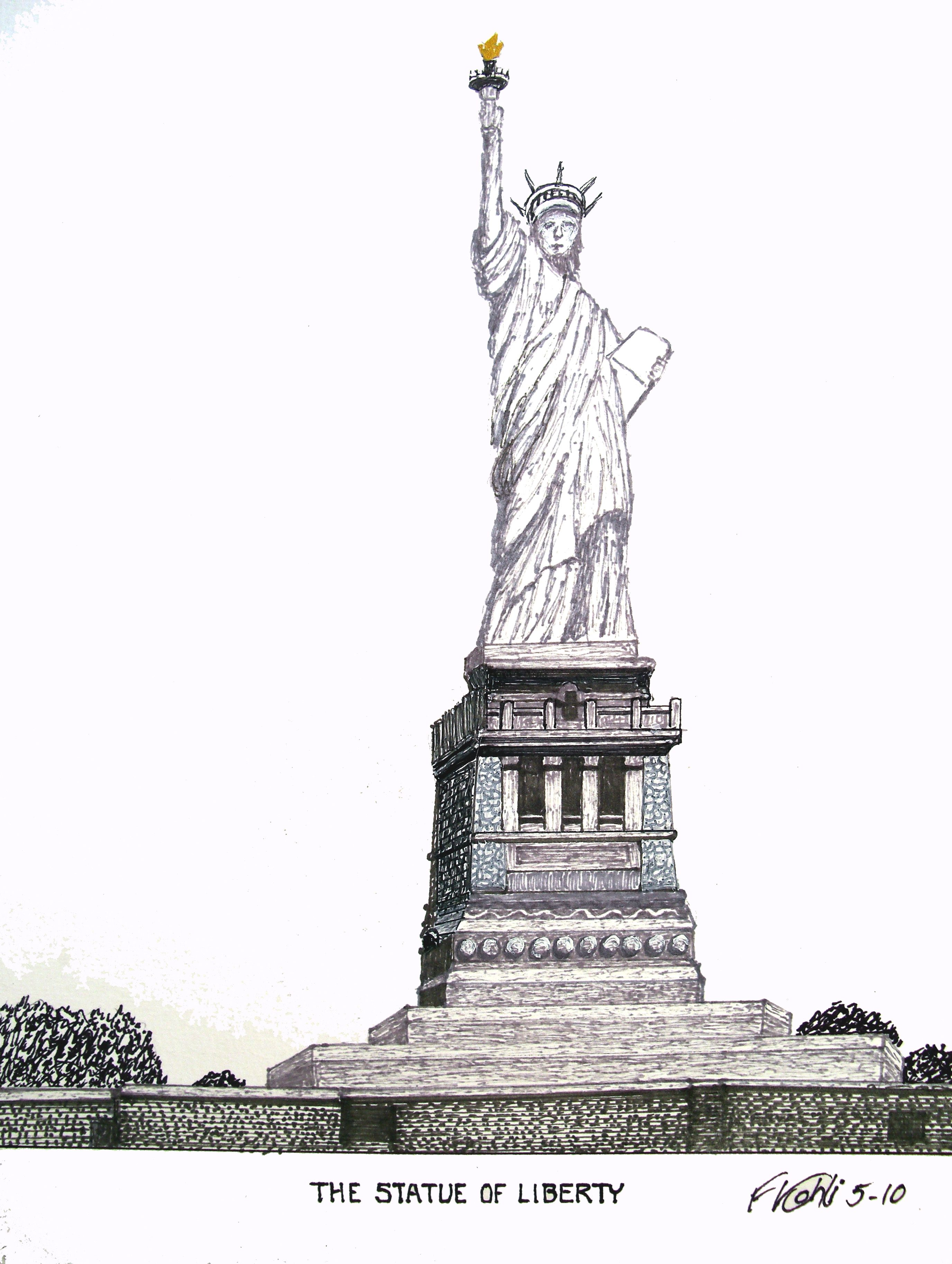 Statue Of Liberty Pen And Ink Drawing By Frederic Kohli Of The