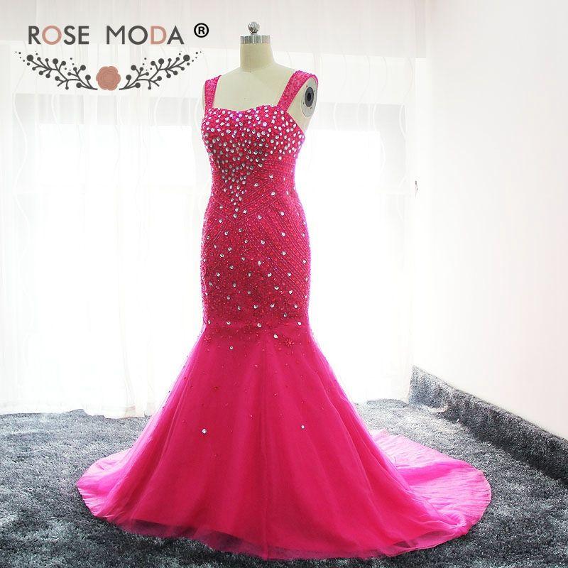Rose Moda Cap Sleeves Hot Pink Crystal Beaded Mermaid Prom Dress ...