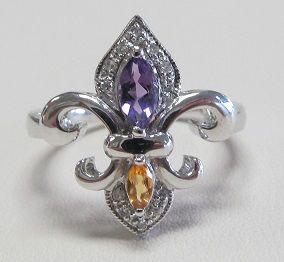 White Gold Amethyst, Citrine & Diamond Fleur de Lis Ring
