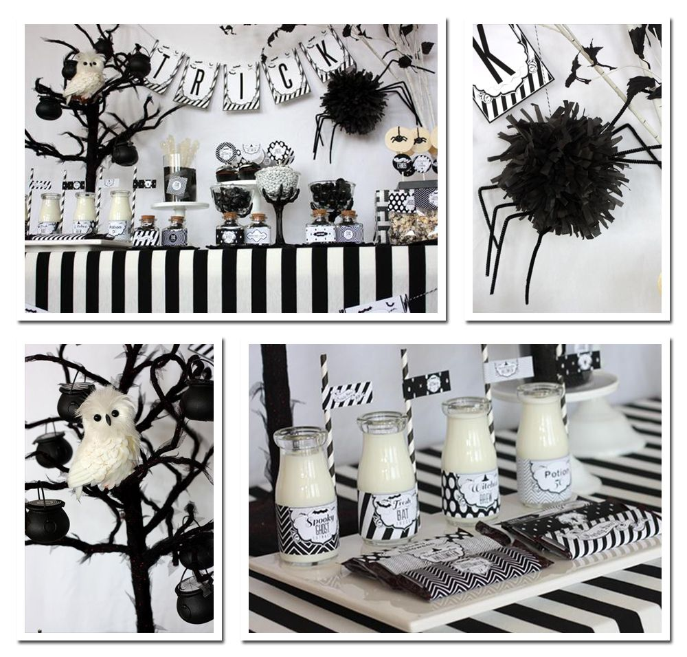decorations for halloween black and white - Pesquisa Google - black and white halloween decorations
