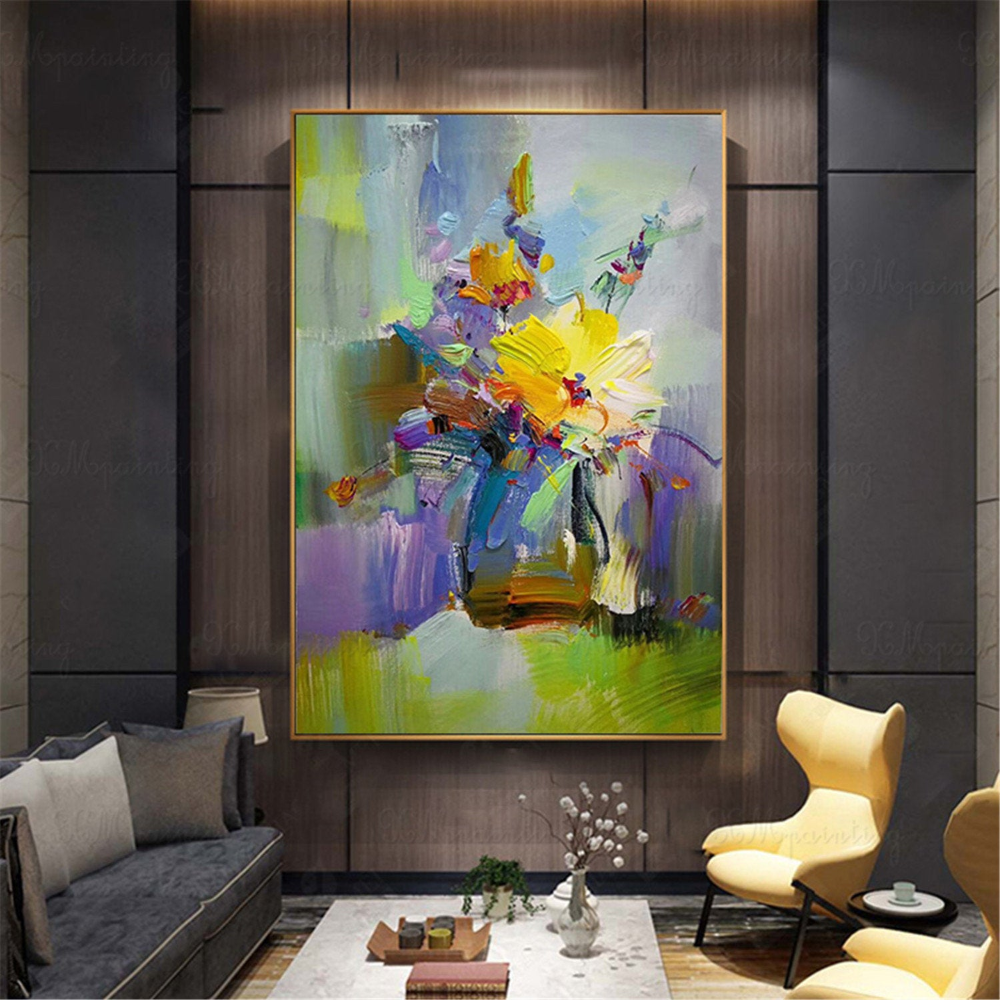 Original Gold Acrylic Flowers Abstract Paintings On Canvas Wall Art Pictures For Living Room Hallway Wall Decor Thick Texture Quadros Decor In 2020 Wall Art Pictures Abstract Painting Gold Art Painting #wall #art #paintings #for #living #room