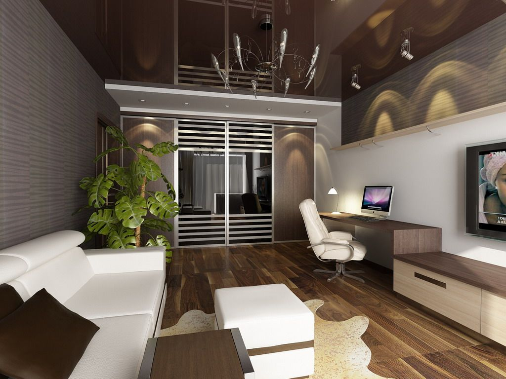 Pleasing Small Apartment Living Room With Imac Desk In 3D Rendering Largest Home Design Picture Inspirations Pitcheantrous