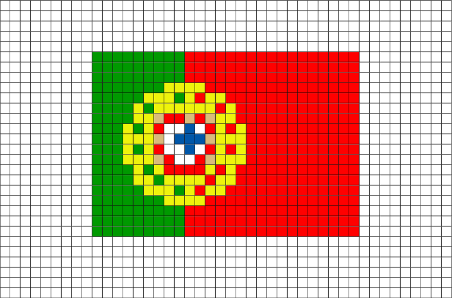 Flag of Portugal Pixel Art from BrikBook.com #Portugal #FlagofPortugal #PortugueseRepublic #SouthwesternEurope #Portuguese #pixel #pixelart #8bit Shop more designs at http://www.brikbook.com