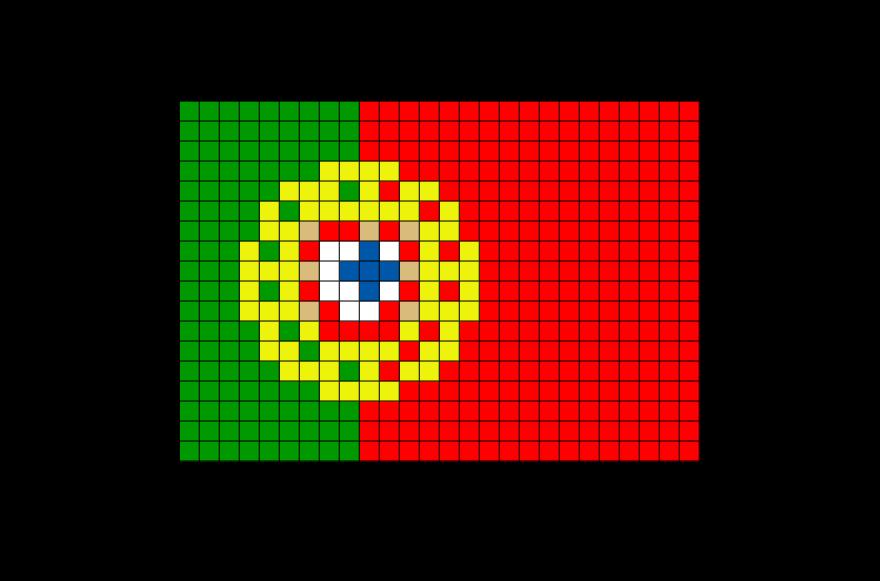 Flag of Portugal Pixel Art from BrikBook.com #Portugal #FlagofPortugal #PortugueseRepublic #SouthwesternEurope #Portuguese #pixel #pixelart #8bit Shop more designs at http://www.brikbook.com