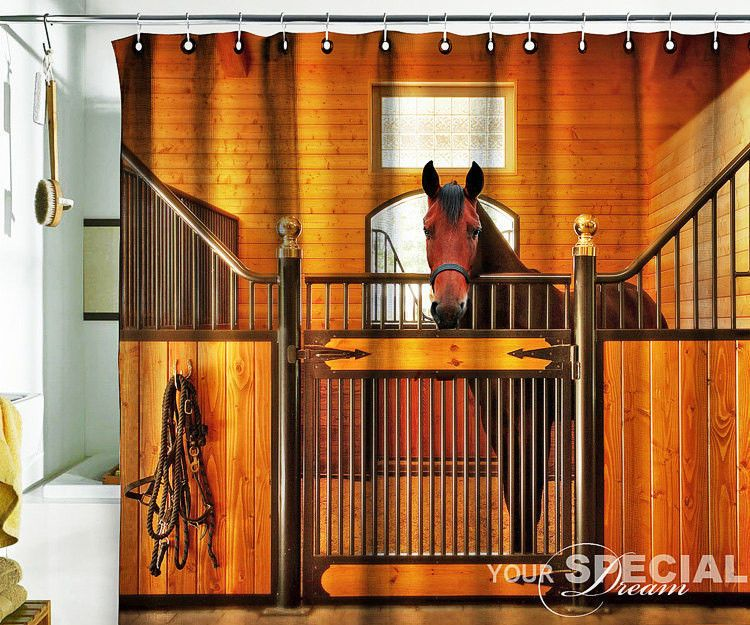 Bath Shower Curtain Horse Stable Stabling Barn Cowboy Unique Design 60 X75 Pulaton Country Horse Bathroom Decor Horse Shower Curtain Horse Bathroom