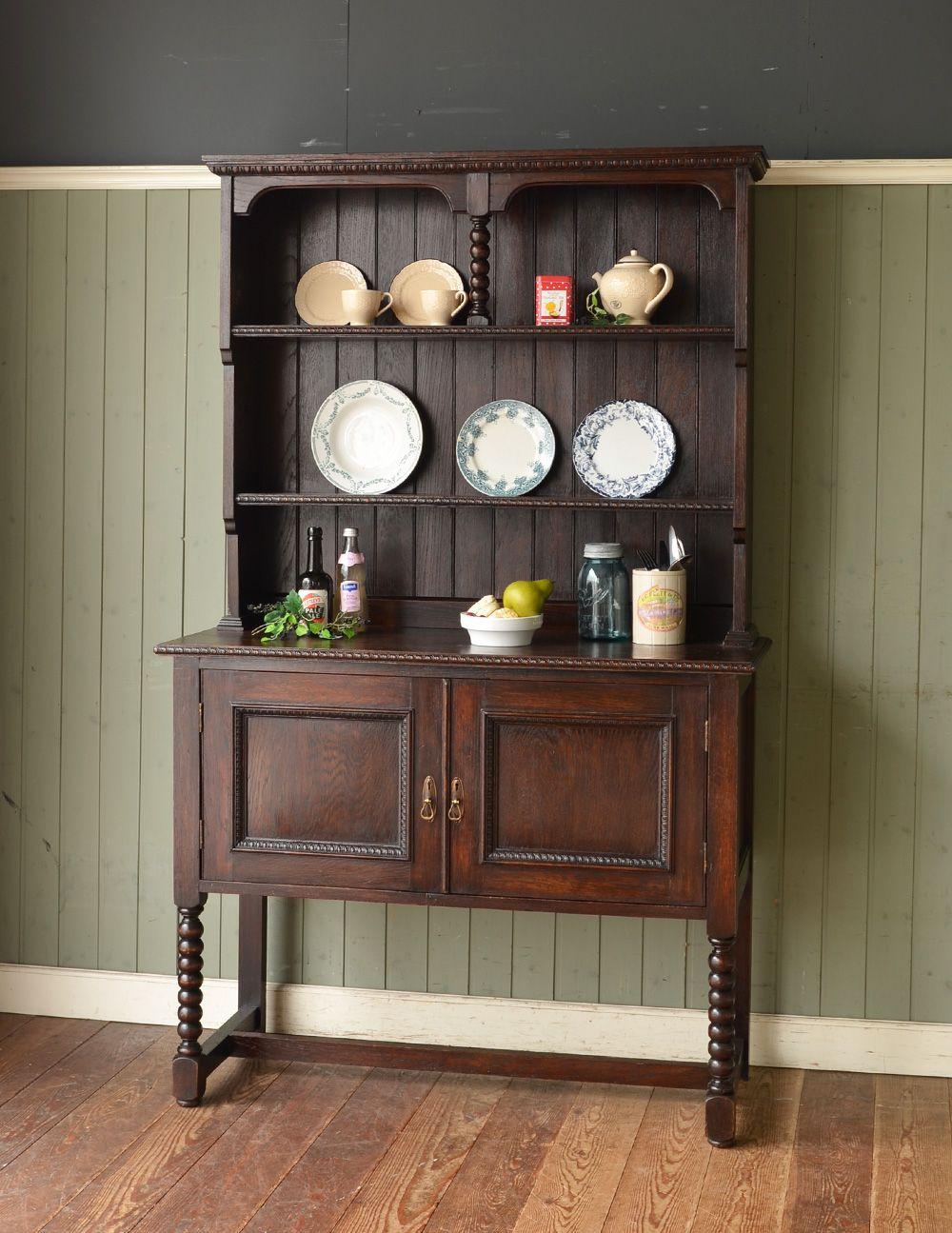 シックなアンティークの英国家具、美しいウェルッシュドレッサー(食器棚