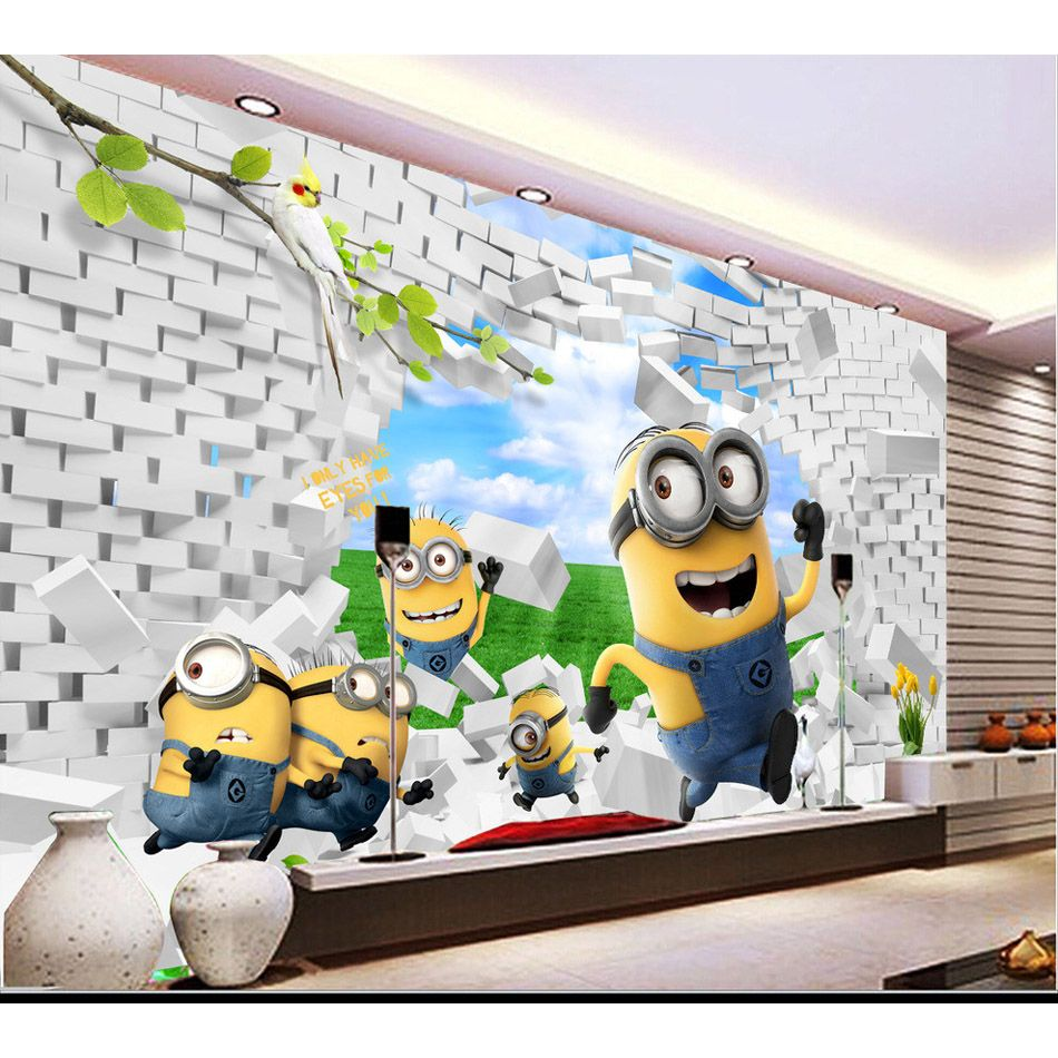 Awesome Cute Yellow Minions Brick Wallpaper 3d Wall Mural Rolls For Hotel Bar Kids Playgroup Kindergarten 3d Brick Wallpaper Kids Room Murals Brick Wallpaper 3d wallpaper kids room