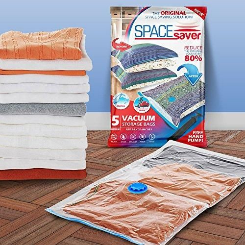 SpaceSaver Vacuum Storage Bags + TravelPump is part of Organization Dorm Pillows - Store away your clothes, pillows and more! 80% more space than other bags! 5 x MEDIUM SIZE BAGS  SQUEEZES EVERY BIT OF AIR OUT OF THE BAG NO MOLD, MILDEW, OR BACTERIA FREE TRAVEL PUMP INCLUDED LIFETIME REPLACEMENT GUARANTEE