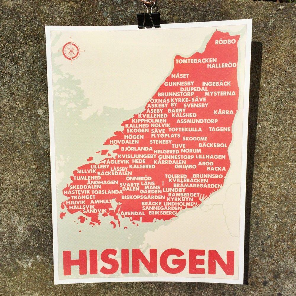 Karta Over Hisingen 30x40 Design Pop In Via Pop In Majorna Local