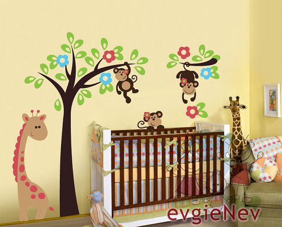 abziehbilder f r kinderzimmer dschungel tiere wall von evgienev baby pinterest dschungel. Black Bedroom Furniture Sets. Home Design Ideas