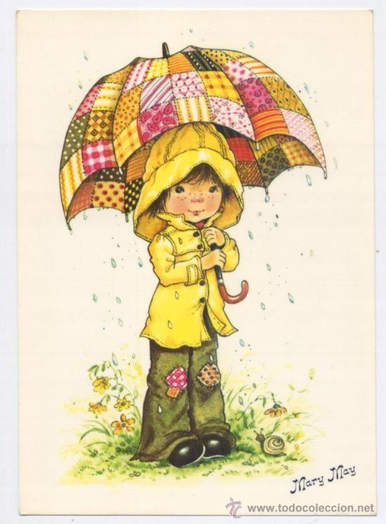 Postal Mary May Chico Con Floreado Paraguas Postales Antiguas Dibujos Bonitos Dibujos