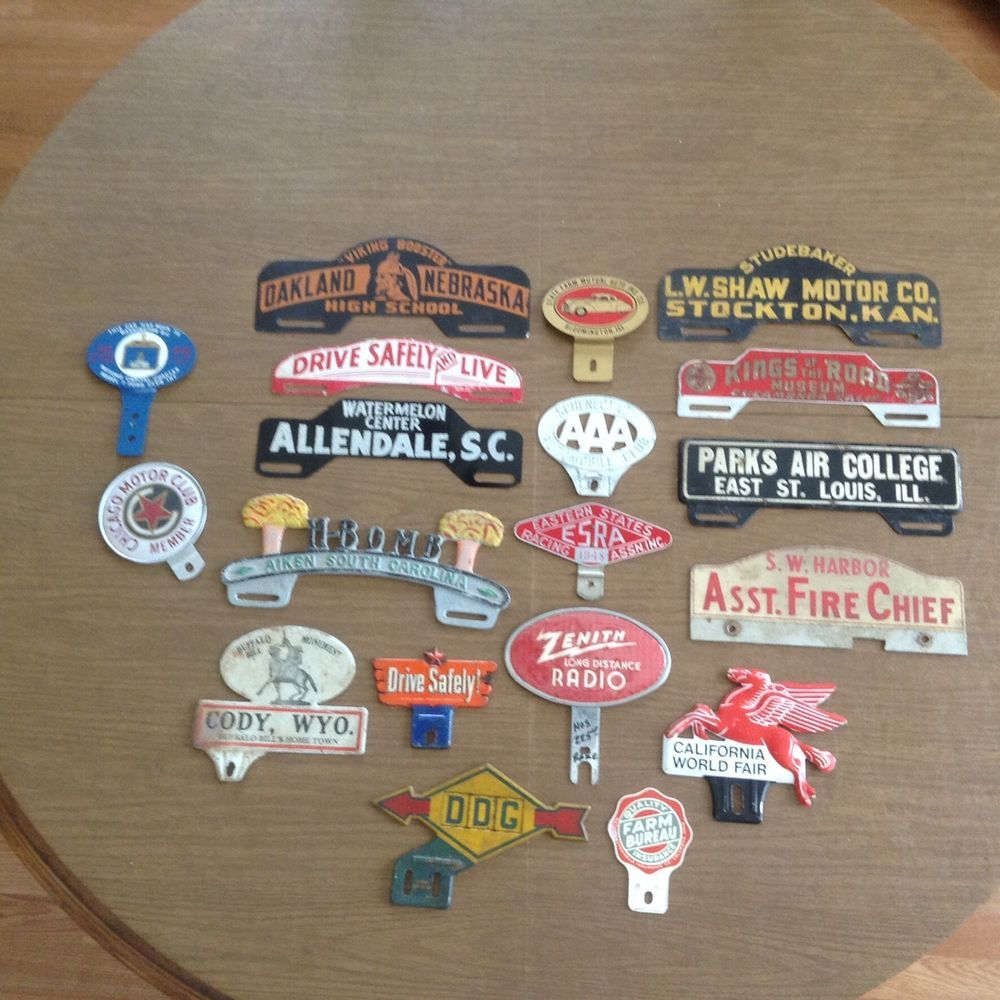 Vintage License Plate Toppers Collection Lifetime