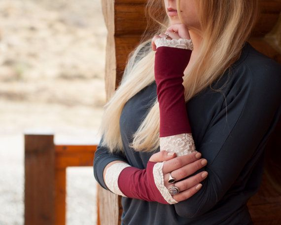 Fingerless Gloves Lace Burgundy Long Maroon Arm by ForgottenCotton