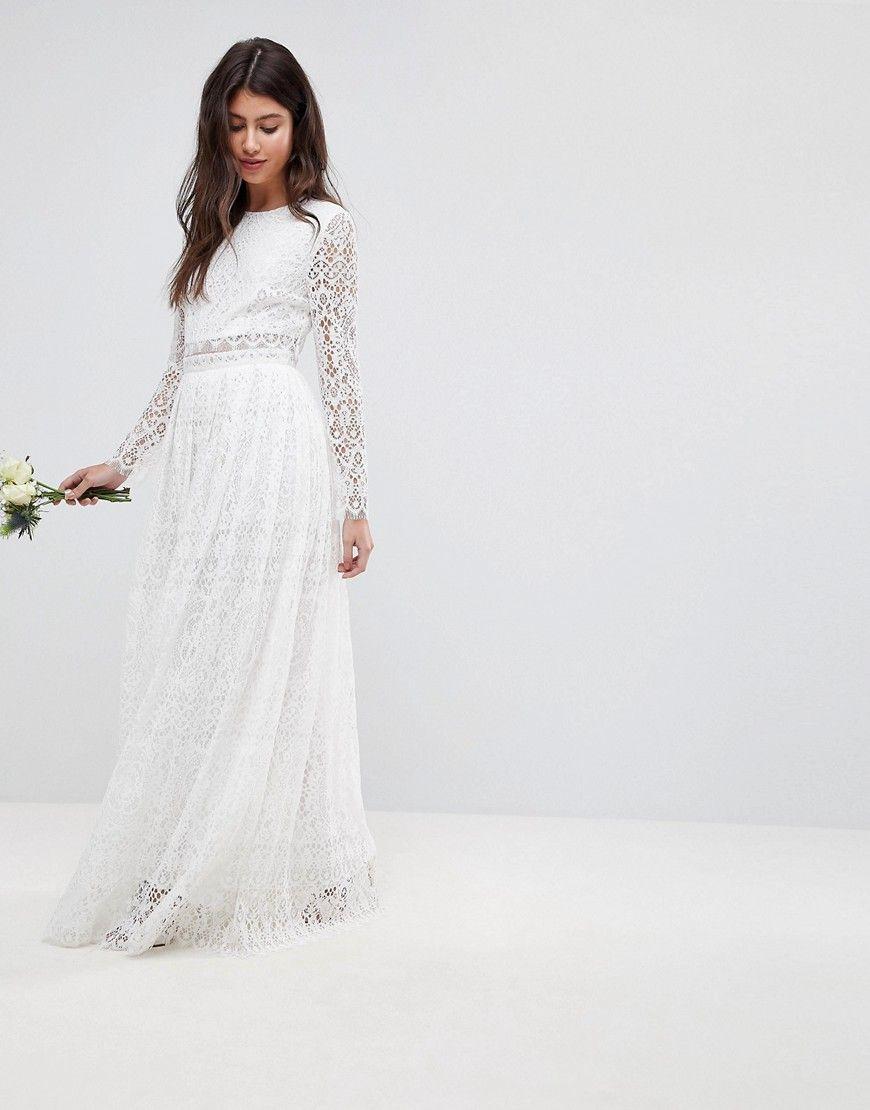 Asos bridal lace long sleeve crop top maxi dress white bridal