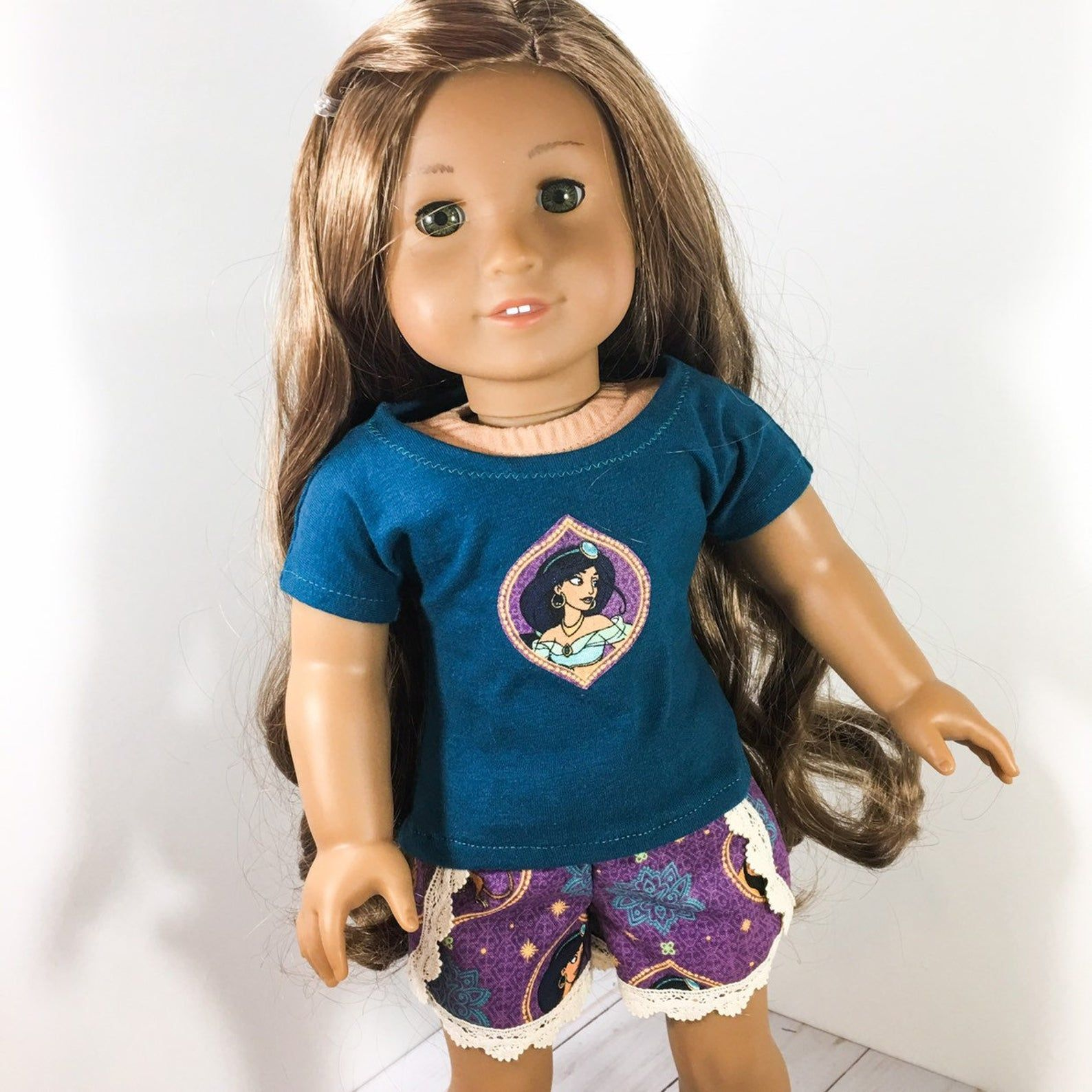 18 inch Doll Clothes - princess character print lace shorts