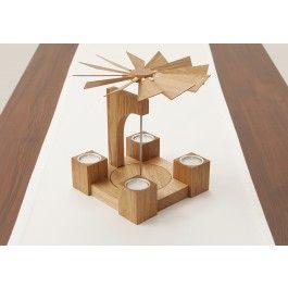 Tisch-Pyramide für Teelichter Eiche natur geölt