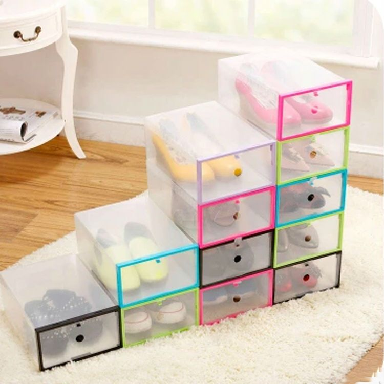 1pcs Thickened Transparent Shoe Boxes Clear Plastic Clamshell Storage Box  Colorful Drawer Type Storage Box(