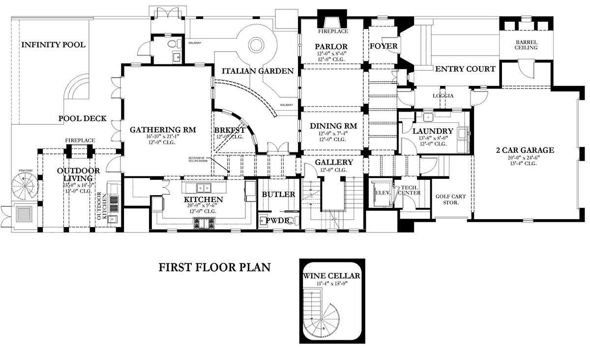 House Plan 3978 00058 European Plan 4 104 Square Feet 3 Bedrooms 5 Bathrooms European Plan House Plans Floor Plans