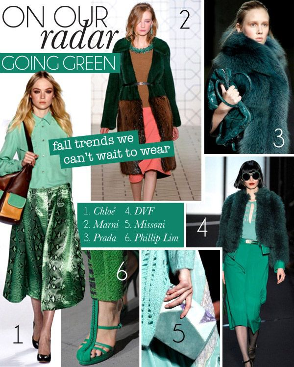 I think bright green and bright blue are on the agenda for Fall!