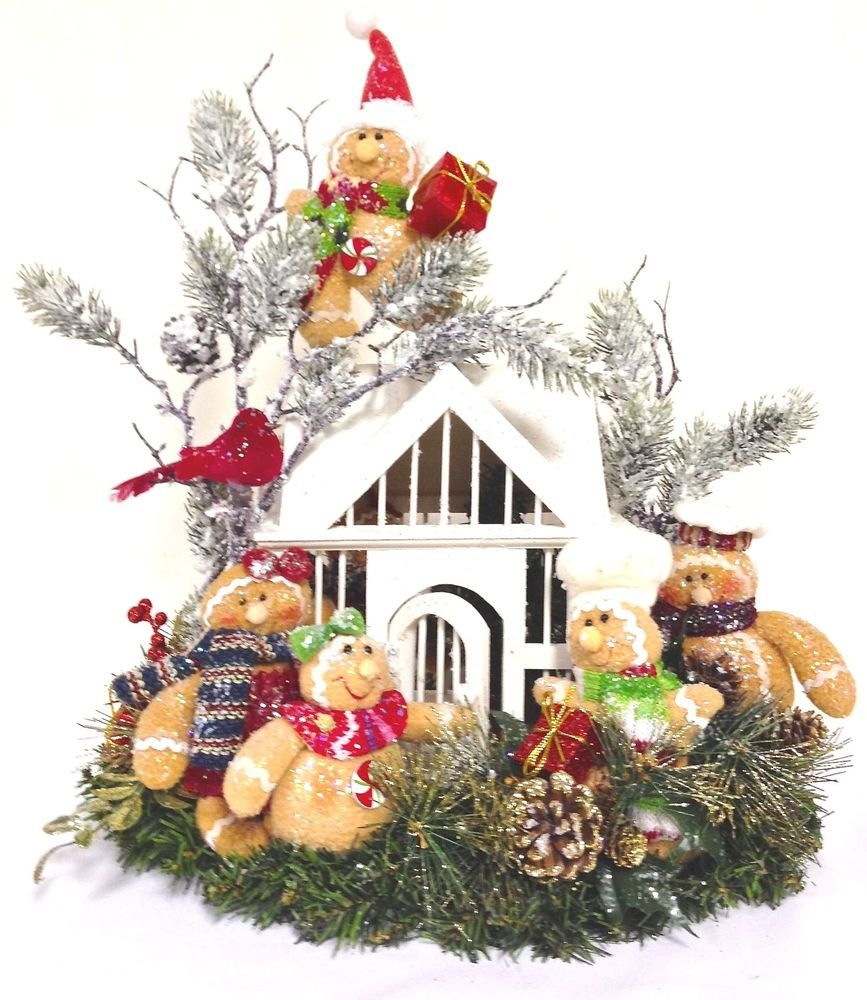 Sold Gingerbread Family Arrangement Large Holiday Winter Table Centerpiece 20 Hx18 L Custo Christmas Arrangements Winter Table Centerpieces Winter Table