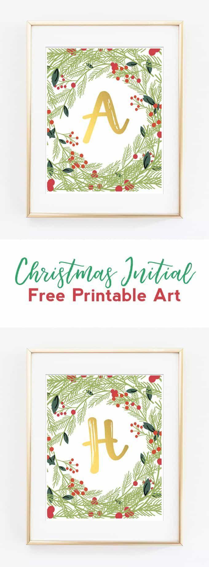 christmas initial art | christmas decor | free printable ...