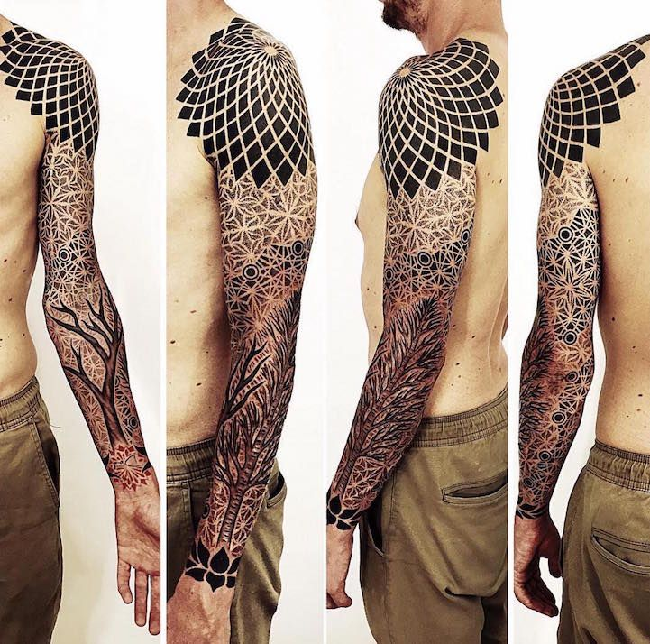 Tato Art Styles: Geometric Sleeve Tattoos Visually Crystalize Across The
