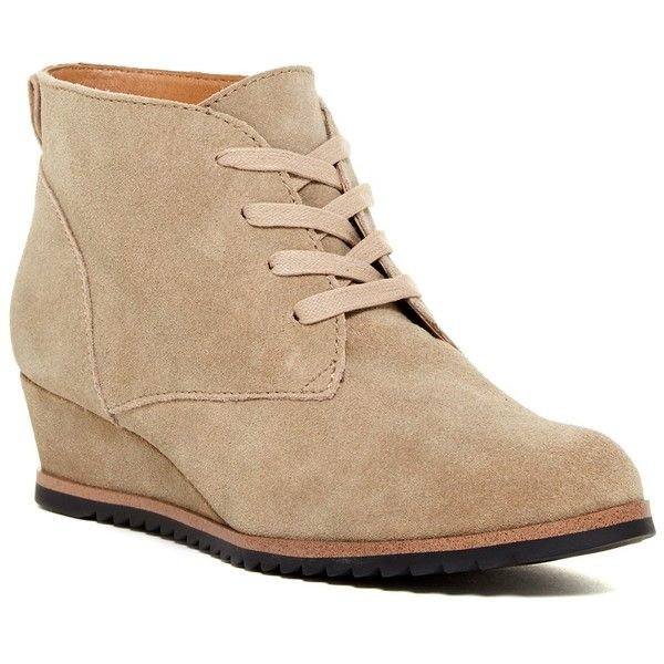7437934f003 ... liked on Polyvore featuring shoes, boots, ankle booties, ankle boots,  light taupe suede, wedge boots, taupe booties, suede lace up booties, taupe  ankle ...