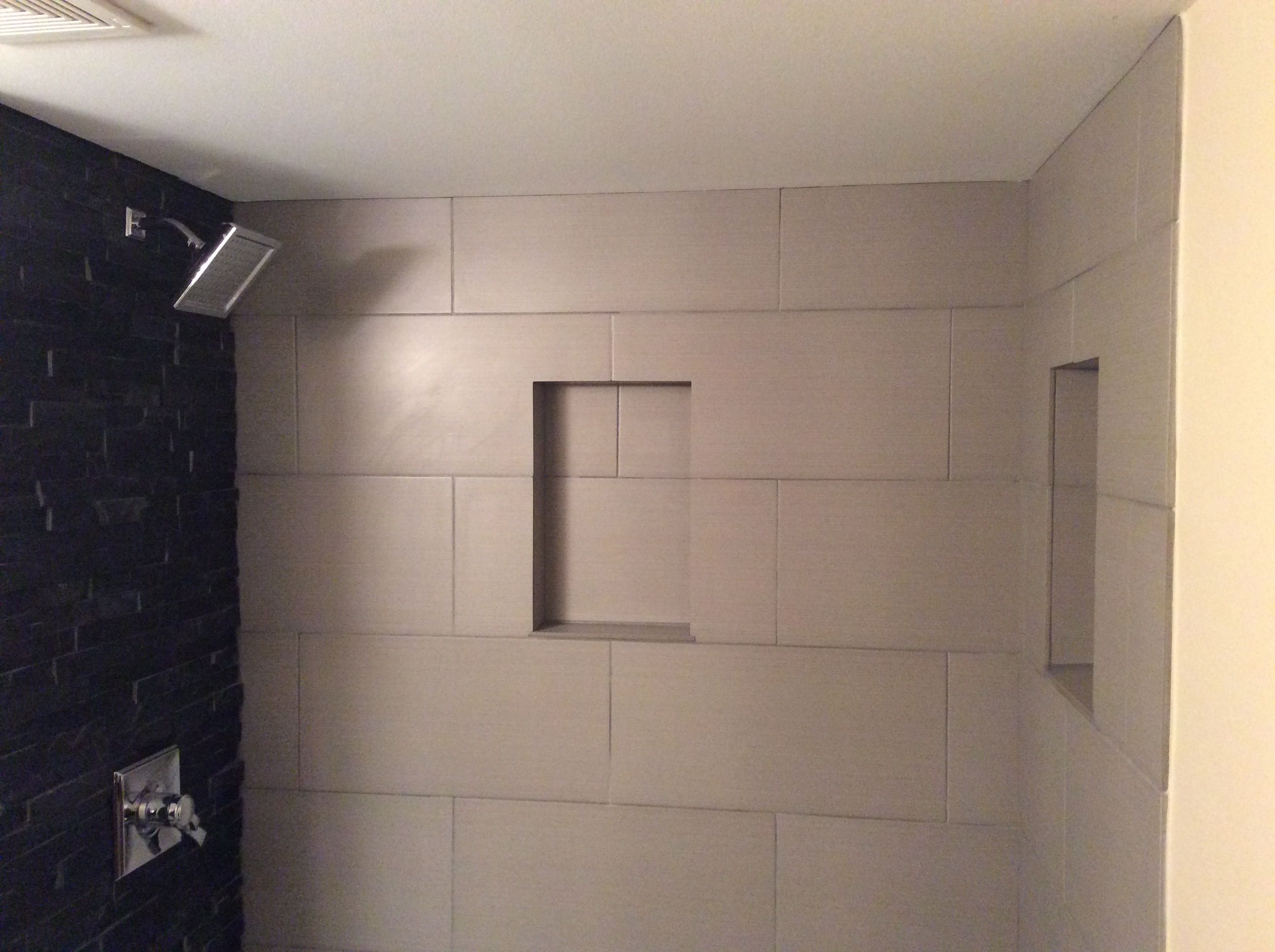 We Used Black Stone Effect Tile And Large White Tile For Shower Walls With  Niche And Custom Shower Base.