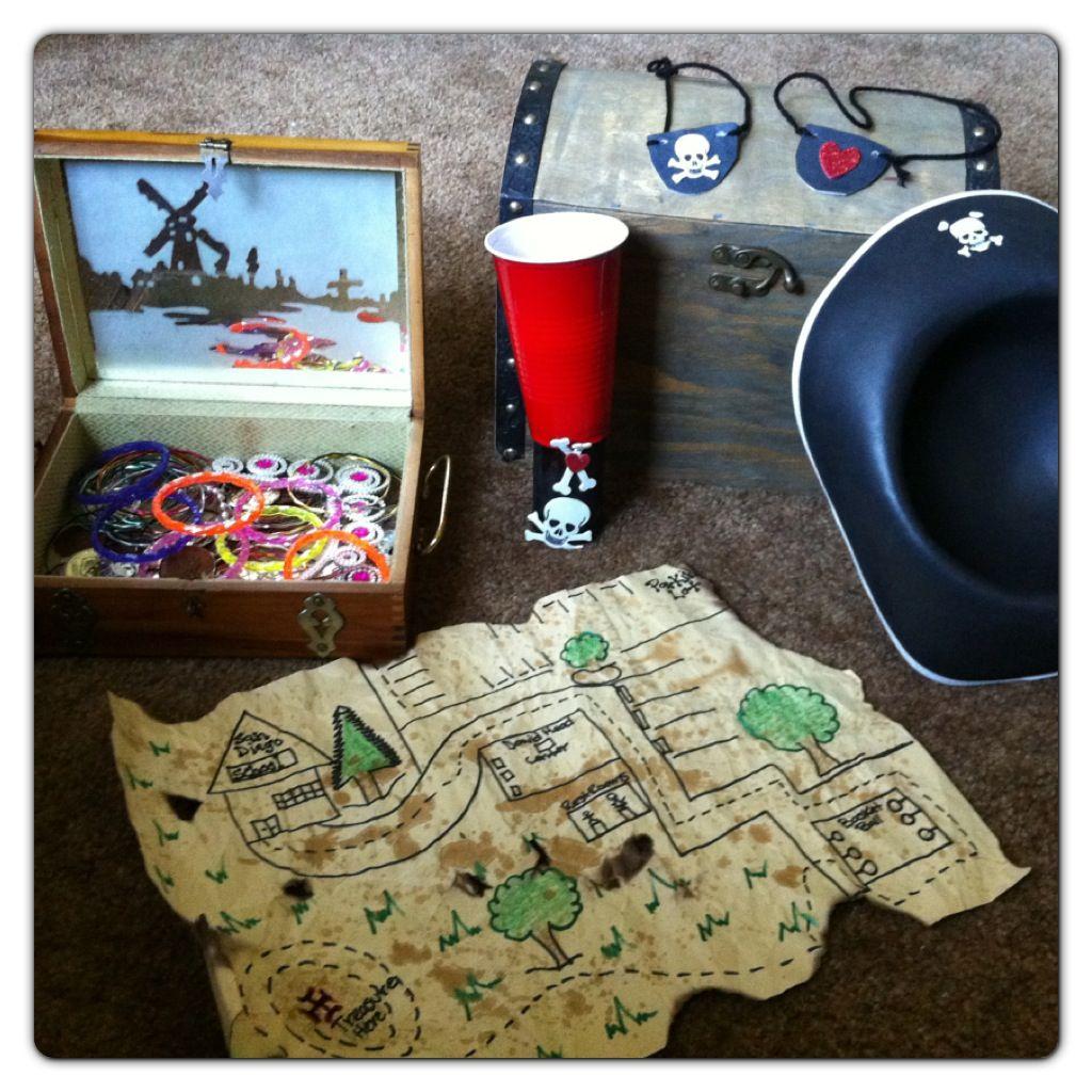 Pirate week at preschool treasure trunk treasure map and