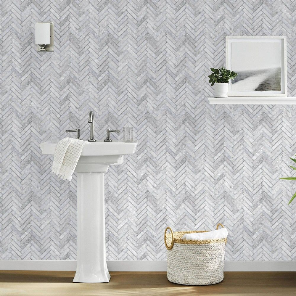 Marble Herringbone Tile Peel Stick Wallpaper Gray Threshold Marble Herringbone Tile Herringbone Tile Peel And Stick Wallpaper