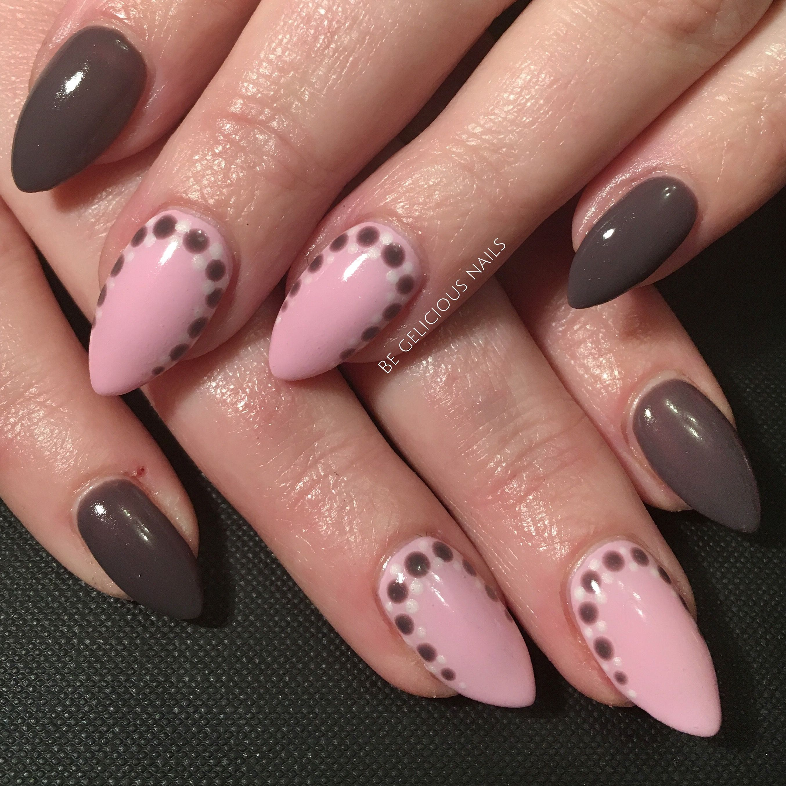 calgel nails, nail art, pink, brown, polka dots, nail design