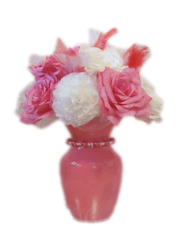 Hot Pink Wedding Centerpiece, Baby Shower Decor, Bridal Shower Decor, Quinceanera Decor, Home Decor, Wedding Decor, Britdal table decor - pinned by pin4etsy.com