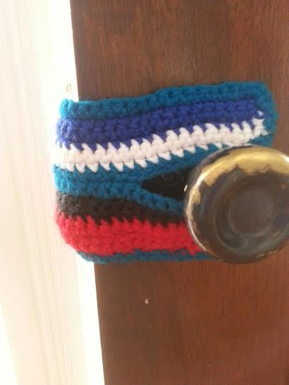 Handmade, crochet door knob covers.  Keeps door from latching. free shipping by Nannysbootie on Etsy