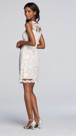 short sequined lace white dress with illusion neckline at davids bridal