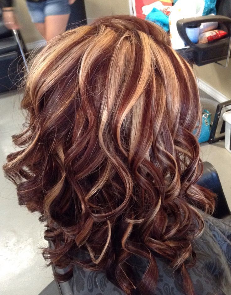 Auburn color with blonde highlights by Melissa at Mustang Sally\'s ...