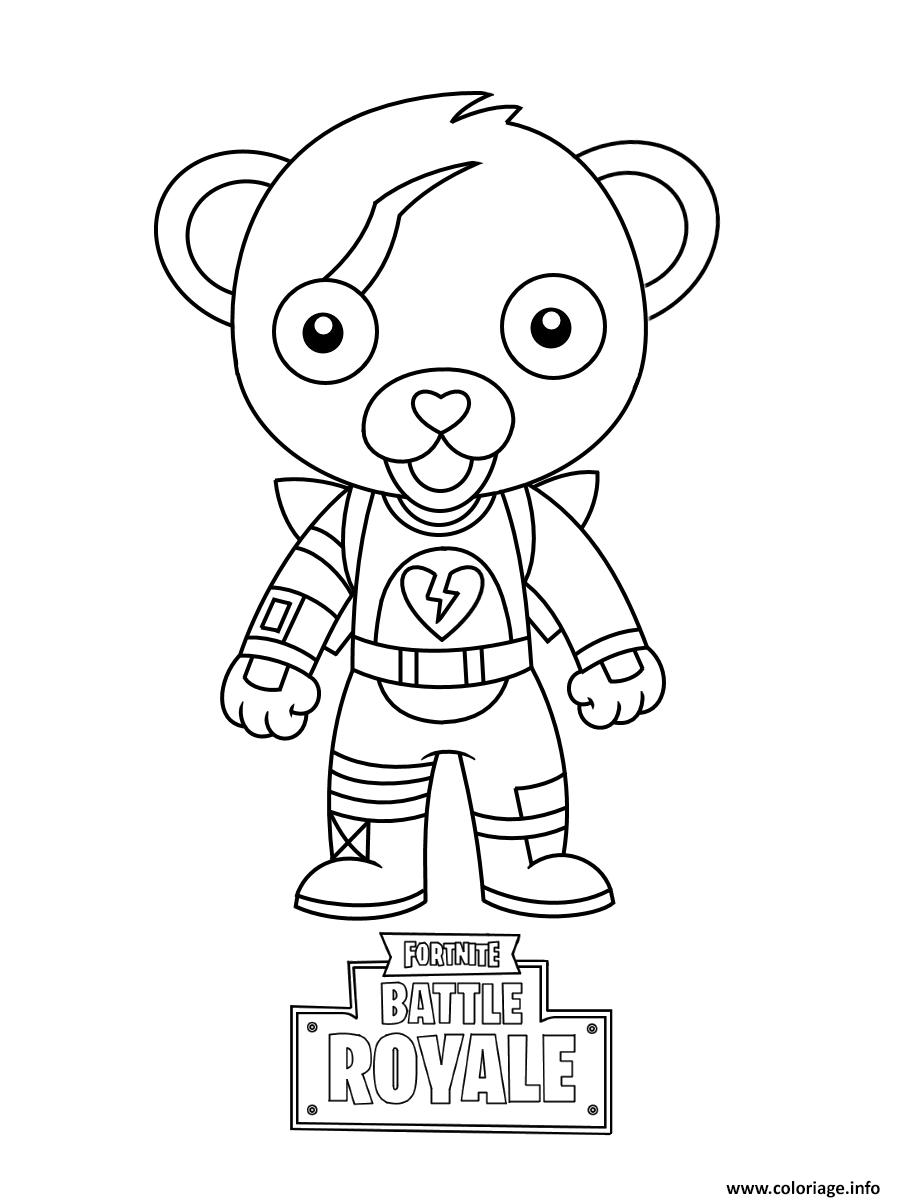 Coloriage cute mini cuddle team leader fortnite à imprimer