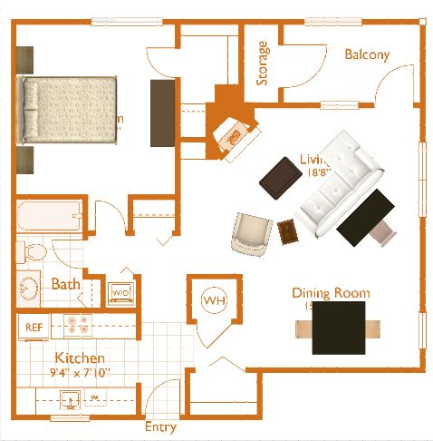 Apartment Layout w/ Furniture