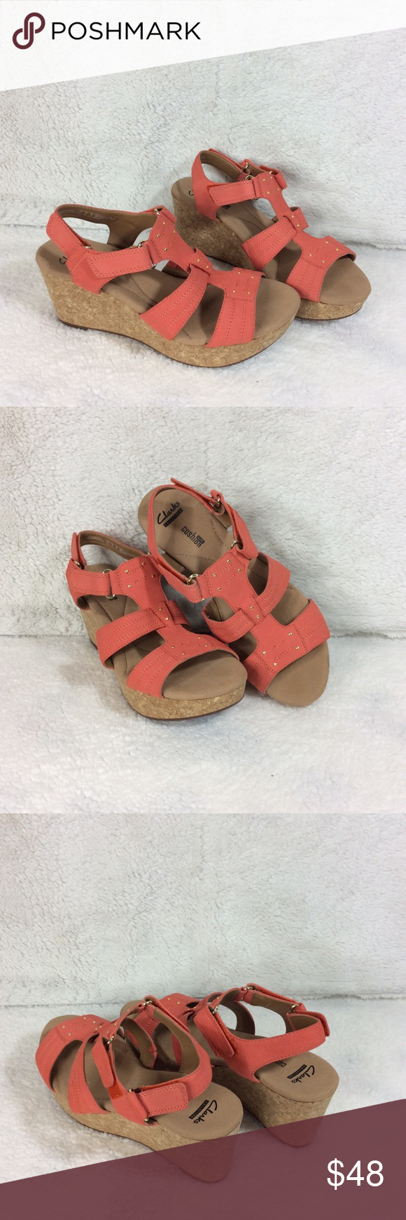 Clarks Annadel Orchid Coral Wedge Sandal Sz 9 Clarks