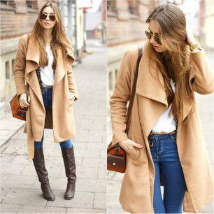 Khaki Lapel Long Sleeve Belt Woolen Coat | victoriaswing