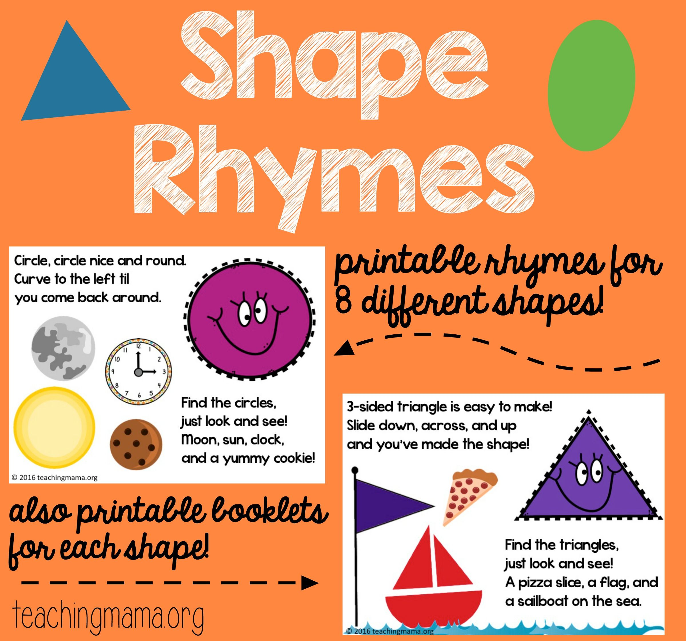 Shape Rhymes Printables