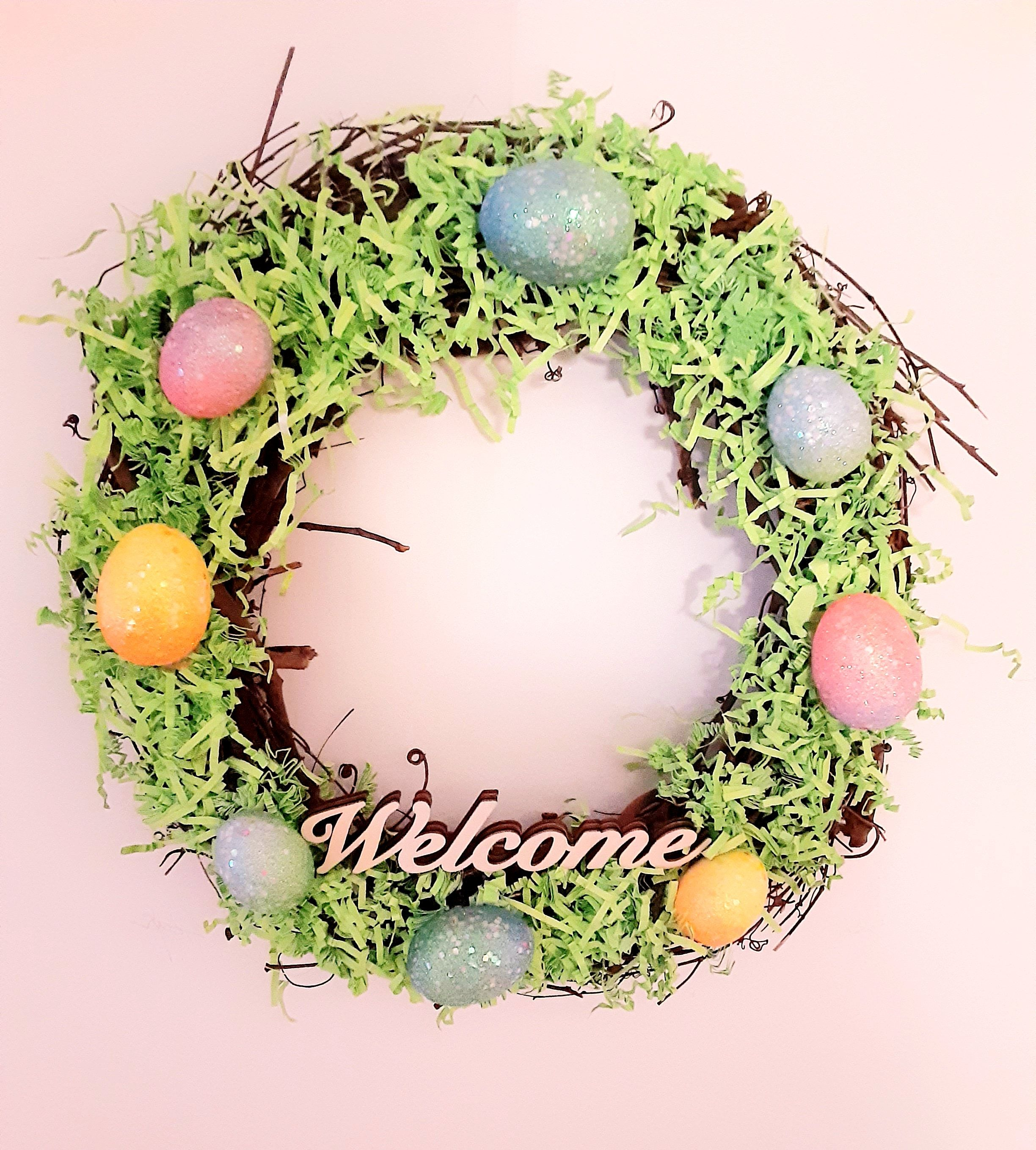 Photo of Easter Wreath, Spring Welcome Wreath, Easter Grapevine Wreath, Spring Wreath, Easter Egg