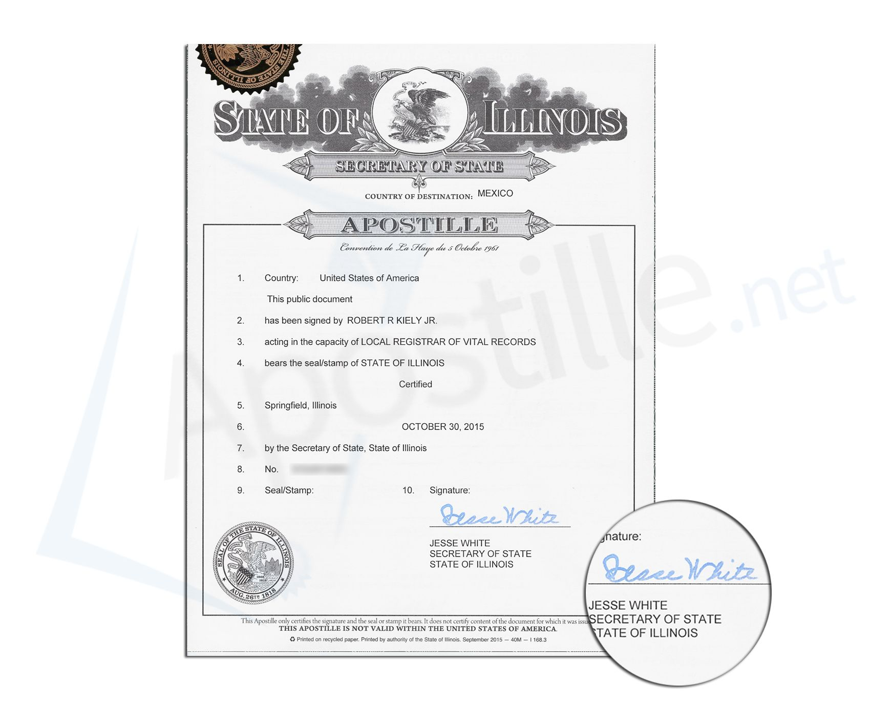 23 best state of illinois sample apostille images on pinterest state of illinois apostille signed by jesse white secretary of state of a document xflitez Choice Image