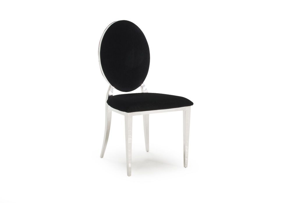 Gorgeous Black Velvet Dining Chairs With A Chrome Frame And Chrome