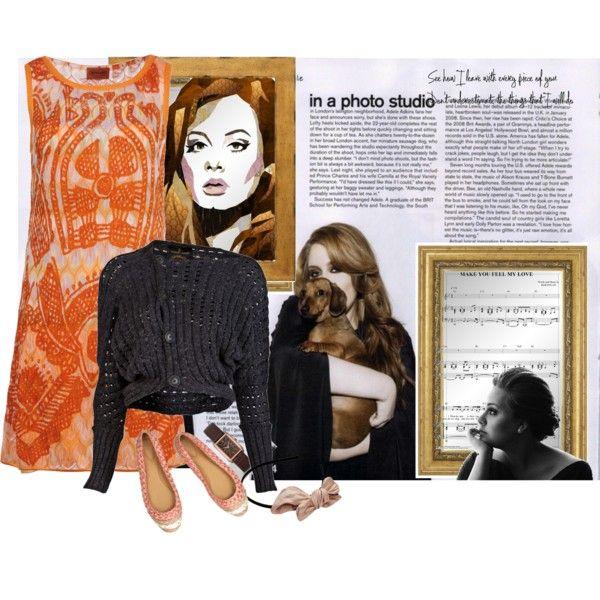 Super cute orange dress & flats.  Adele style