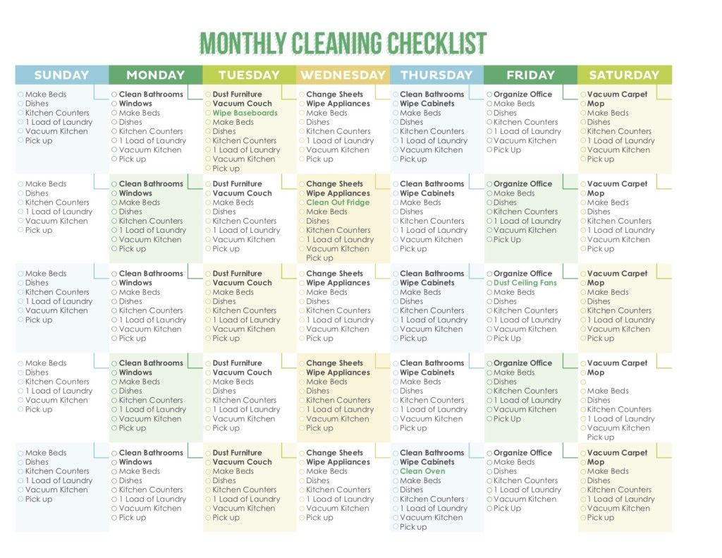 7 Awesome Printable Cleaning Schedules